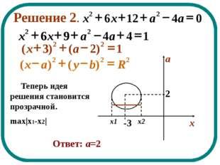 Решение 2. Теперь идея решения становится прозрачной. max x1-x2  Ответ: а=2