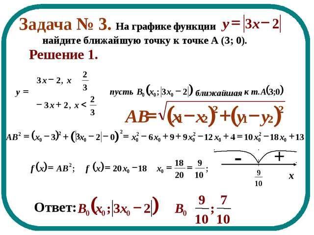 Задача № 3. На графике функции найдите ближайшую точку к точке А (3; 0). - Ре...