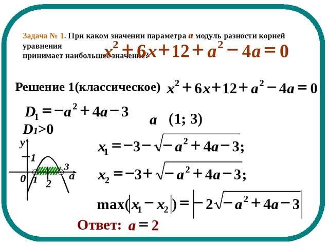 Задача № 1. При каком значении параметра а модуль разности корней уравнения п...