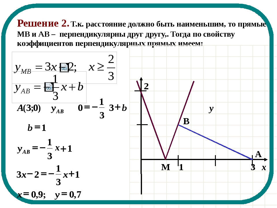 Решение 2. Т.к. расстояние должно быть наименьшим, то прямые МВ и АВ – перпен...