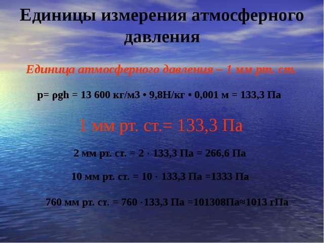 Единицы измерения атмосферного давления Единица атмосферного давления – 1 мм...