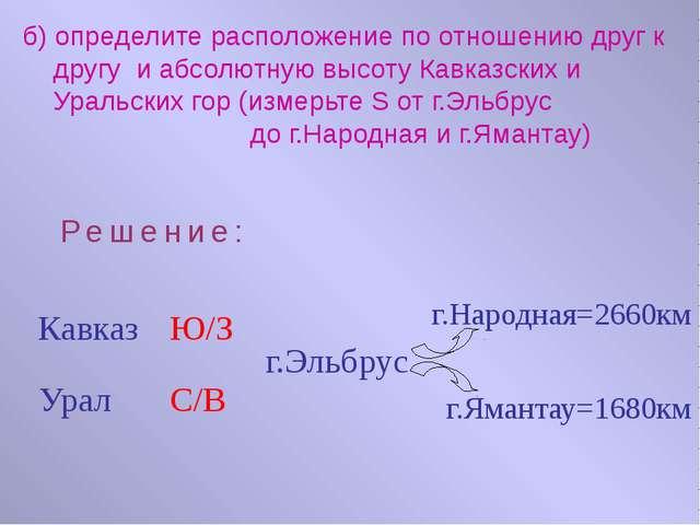 б) определите расположение по отношению друг к другу и абсолютную высоту Кавк...