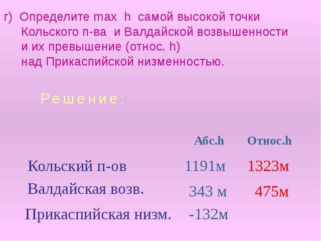 г) Определите max h самой высокой точки Кольского п-ва и Валдайской возвышенн...