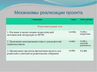 Механизмы реализации проекта Содержание Сроки Ответственные Подготовительныйэ