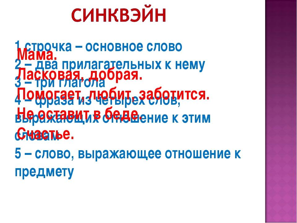 1 строчка – основное слово 2 – два прилагательных к нему 3 – три глагола 4 –...