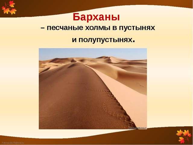 Барханы – песчаные холмы в пустынях и полупустынях. FokinaLida.75@mail.ru