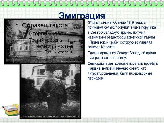 Эмиграция Жил в Гатчине. Осенью 1919 года, с приходом белых, поступил в чине...