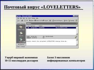 Почтовый вирус «LOVELETTERS» Ущерб мировой экономики 10-15 миллиардов долларо