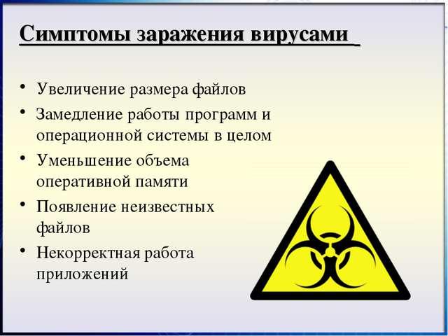 Симптомы заражения вирусами Увеличение размера файлов Замедление работы прогр...
