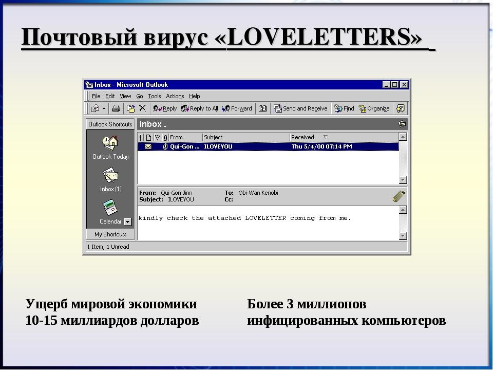 Почтовый вирус «LOVELETTERS» Ущерб мировой экономики 10-15 миллиардов долларо...