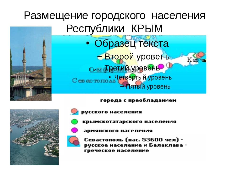 Размещение городского населения Республики КРЫМ