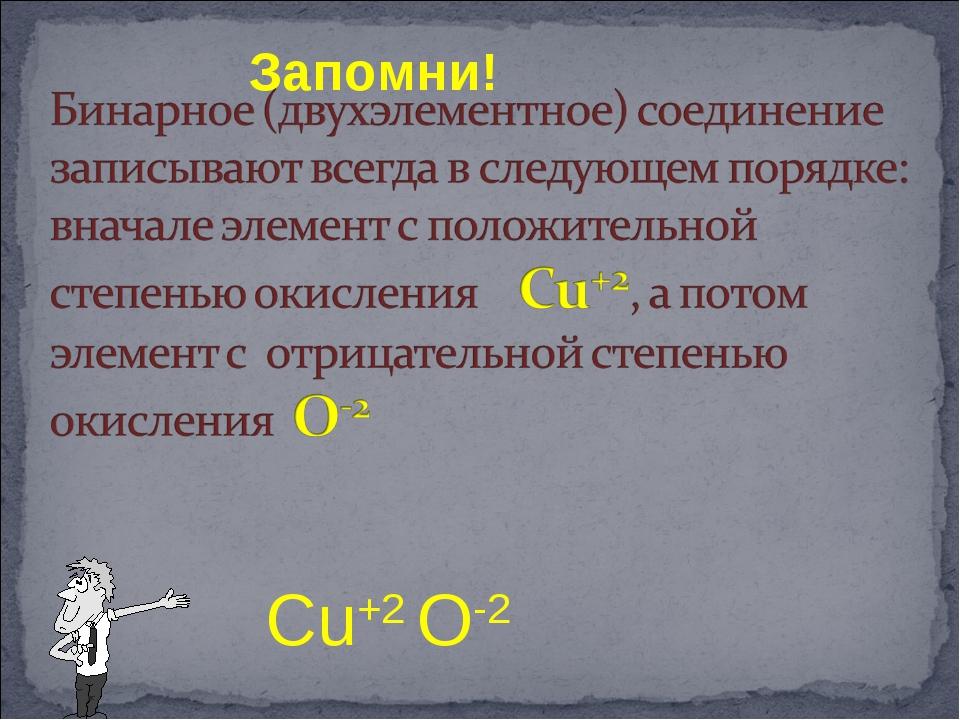 Запомни! Cu+2 O-2