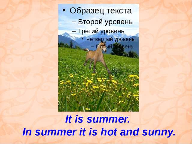 It is summer. In summer it is hot and sunny.