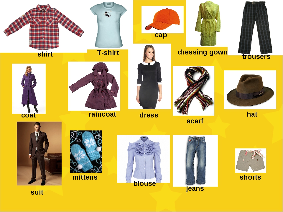 shirt T-shirt cap dressing gown trousers coat raincoat dress scarf hat suit m...