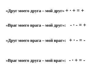 «Друг моего друга – мой друг» + ∙ + = + «Враг моего врага – мой друг»: - ∙ -