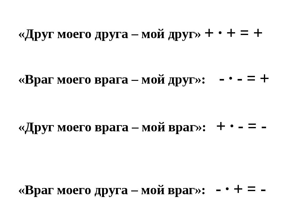«Друг моего друга – мой друг» + ∙ + = + «Враг моего врага – мой друг»: - ∙ -...