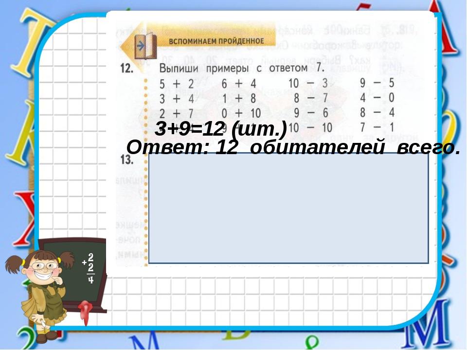 3+9=12 (шт.) Ответ: 12 обитателей всего.