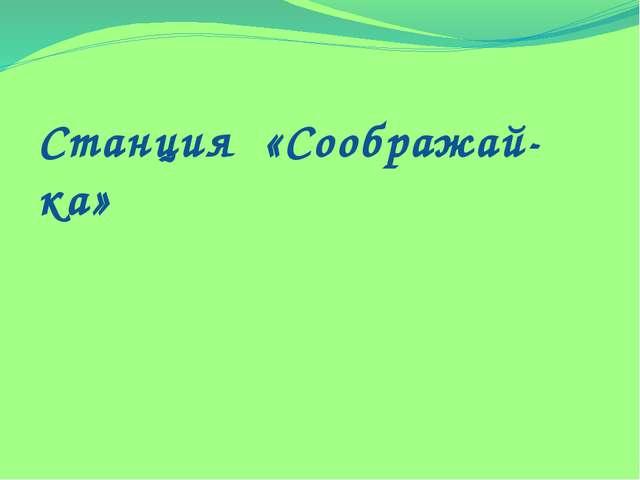 Станция «Соображай-ка»