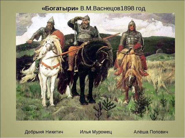 «Богатыри» В.М.Васнецов1898 год Добрыня Никитич Илья Муромец Алёша Попович