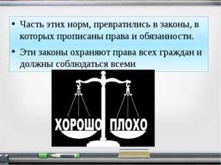 Часть этих норм, превратились в законы, в которых прописаны права и обязаннос