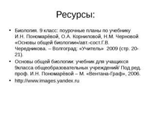 Ресурсы: Биология. 9 класс: поурочные планы по учебнику И.Н. Пономарёвой, О.А