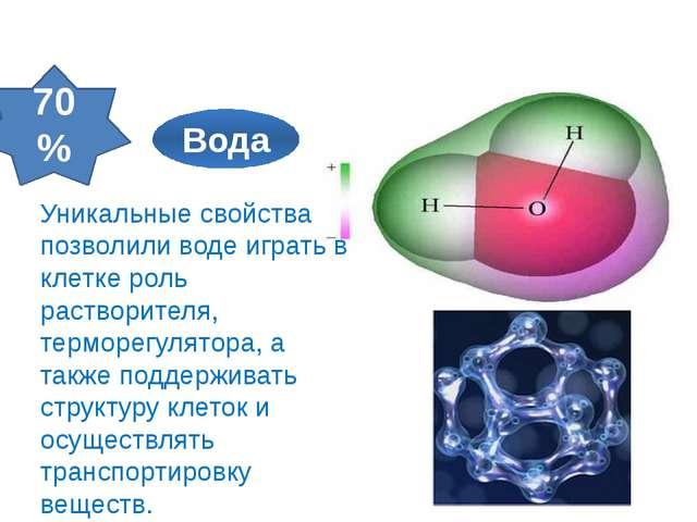 70% Неорганические вещества клетки Уникальные свойства позволили воде играть...