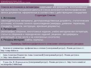 Список источников и литературы охватывает все документы, использованные при в