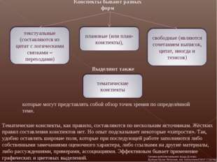 Конспекты бывают разных форм Тематические конспекты, как правило, составляютс