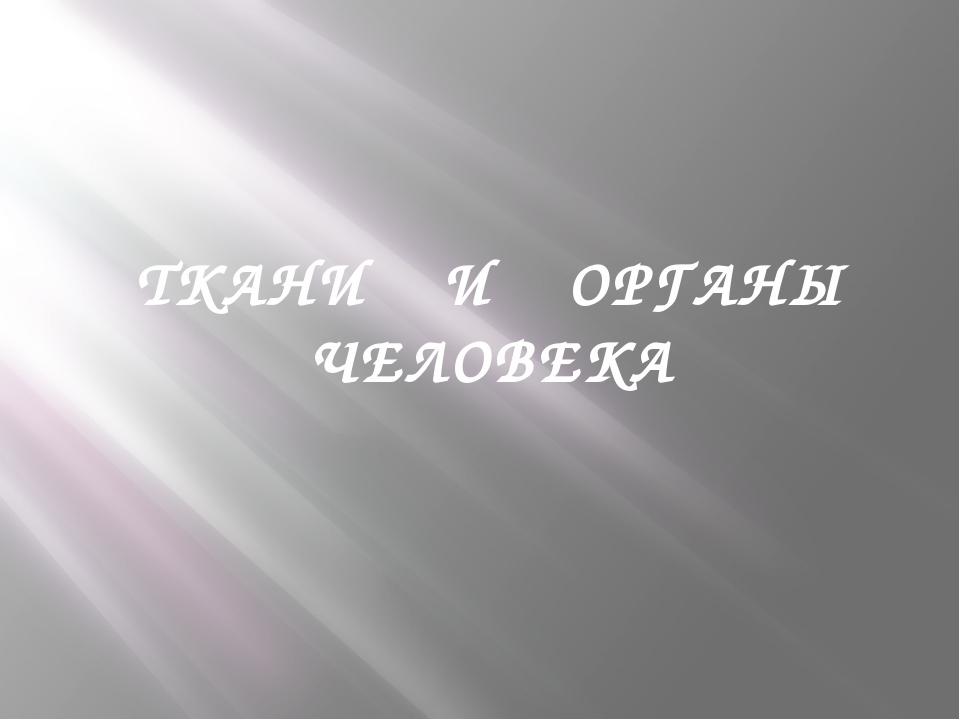 ТКАНИ И ОРГАНЫ ЧЕЛОВЕКА