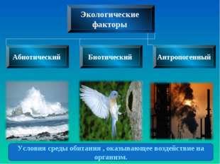 Условия среды обитания , оказывающее воздействие на организм.