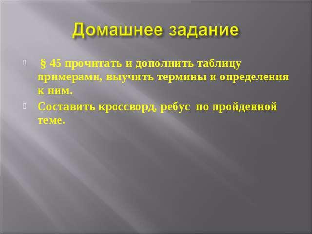 § 45 прочитать и дополнить таблицу примерами, выучить термины и определения...