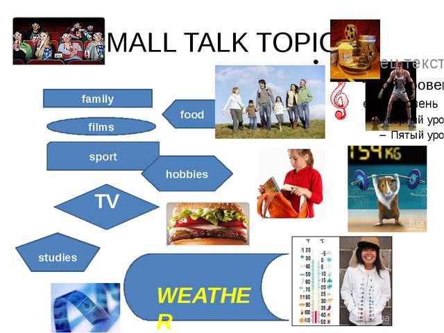 SMALL TALK TOPICS family films sport TV food hobbies studies WEATHER