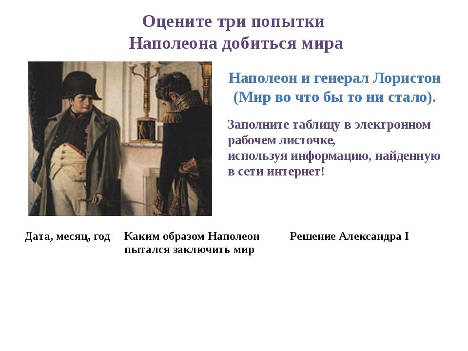 Оцените три попытки Наполеона добиться мира Наполеон и генерал Лористон (Мир...