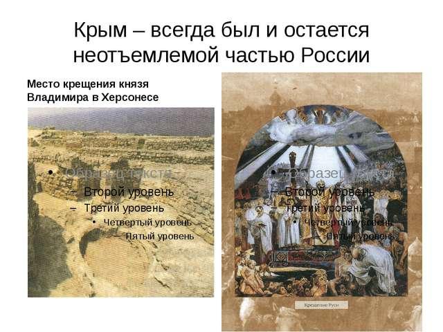Крым – всегда был и остается неотъемлемой частью России Место крещения князя...