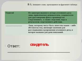 В 1. Запишите слово, пропущенное во фрагменте таблицы Ответ: ________________