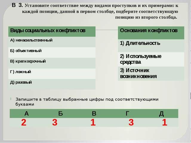 В 3. Установите соответствие между видами проступков и их примерами: к каждой...