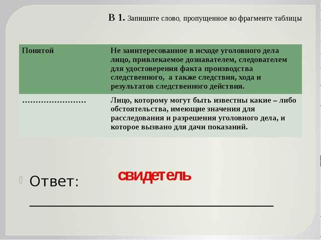 В 1. Запишите слово, пропущенное во фрагменте таблицы Ответ: ________________...