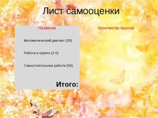 Лист самооценки НазваниеКоличество баллов Математический диктант (2б) Работ