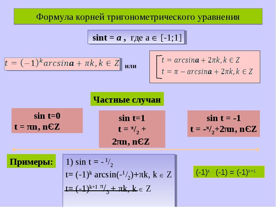 Формулa корней тригонометрического уравнения sint = а , где а  [-1;1] или Ча...