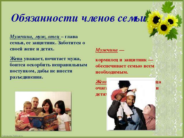 Обязанности членов семьи Мужчина, муж, отец – глава семьи, ее защитник. Забот...