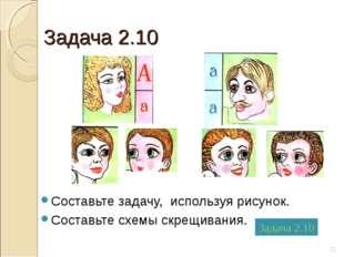 Задача 2.10 Составьте задачу, используя рисунок. Составьте схемы скрещивания.