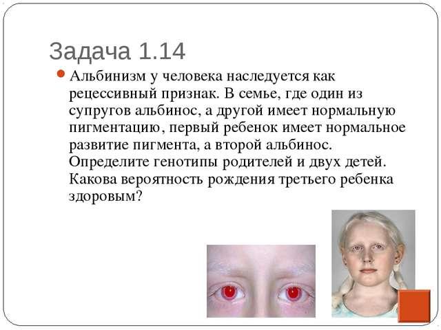 Задача 1.14 * Альбинизм у человека наследуется как рецессивный признак. В сем...