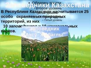 Заповедники Казахстана В Республике Казахстан насчитывается 25 особо охраняе