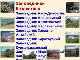 Заповедники Казахстана Заповедник Аксу-Джабаглы Заповедник Алакольский Запов