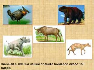 Начиная с 1600 на нашей планете вымерло около 150 видов животных, причём боле