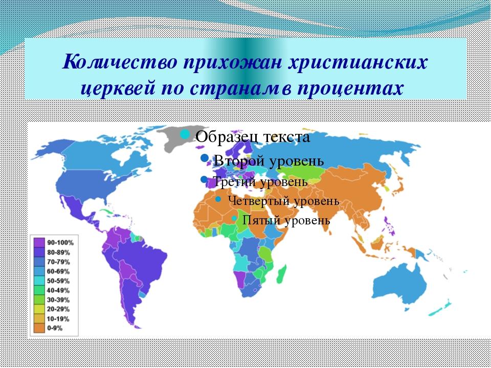 Количество прихожан христианских церквей по странам в процентах