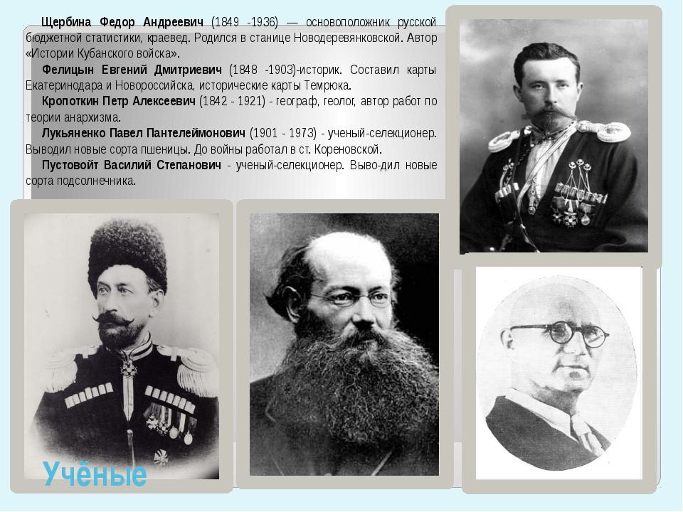 Щербина Федор Андреевич (1849 -1936) — основоположник русской бюджетной стати...