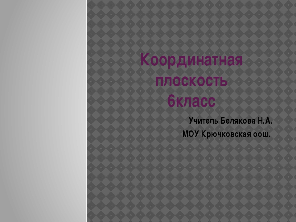 Координатная плоскость 6класс Учитель Белякова Н.А. МОУ Крючковская оош.