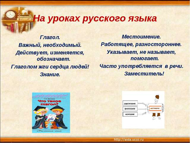 На уроках русского языка Глагол. Важный, необходимый. Действует, изменяется,...
