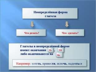 Неопределённая форма глагола Что делать? Что сделать? Глаголы в неопределённо